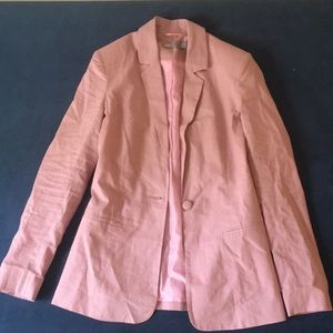 Pink tailored single breasted linen blazer
